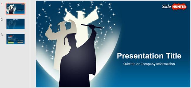 Mẫu slide PowerPoint dành cho tốt nghiệp với màn hình rộng