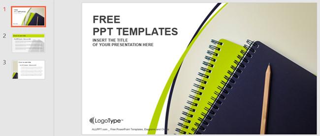 Mẫu slide PowerPoint bút chì và sổ tay