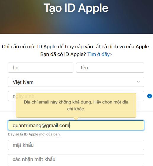 Điền thông tin đầy đủ vào form để tạo Apple ID