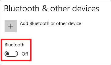 Chuyển thanh trượt sang On để bật Bluetooth