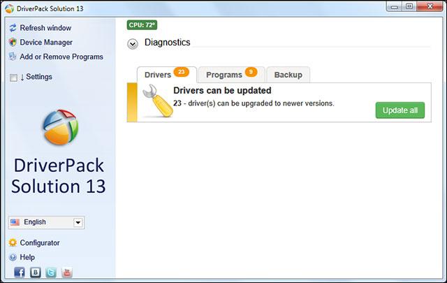 DriverPack Solution có thể cập nhật không cần Internet
