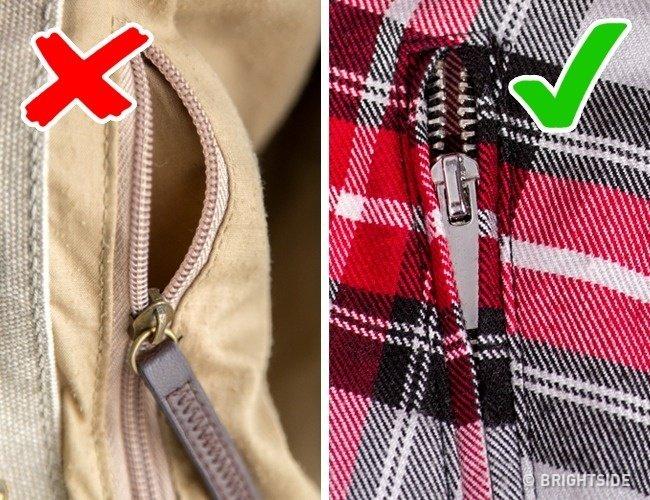 Tránh mua sản phẩm có phần khóa kéo lộ ra ngoài