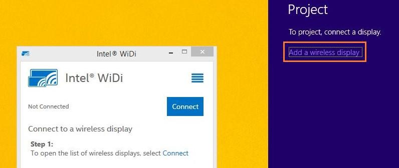 Click vào liên kết Connect to a wireless display