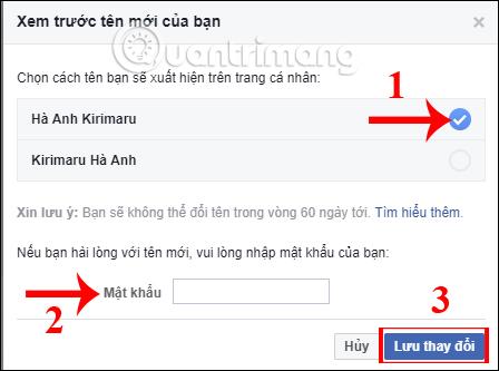 cách đổi tên facebook trên máy tính