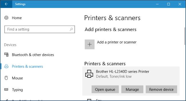 Danh sách các máy in đã cài đặt