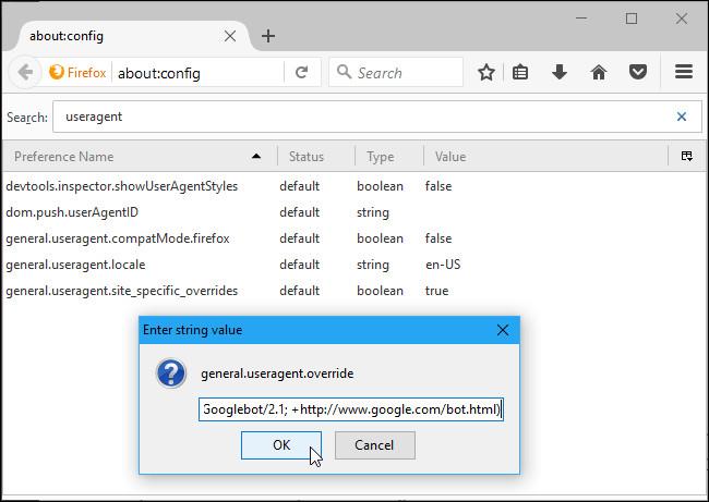 Thay đổi User Agent cho Firefox