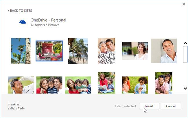 Chèn ảnh vào Word 2016 từ OneDrive