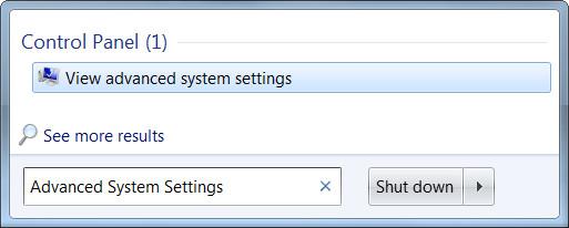 Tìm Advanced System Settings