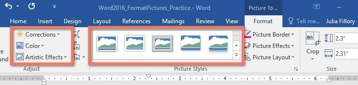 Các công cụ chỉnh sửa ảnh trong Word 2016