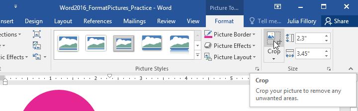 Chọn Crop để cắt ảnh trong Word 2016