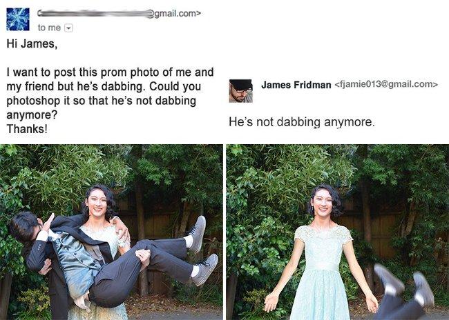 """""""Hi James! Tôi muốn đăng tấm hình prom cùng bạn trai mình nhưng trong hình anh ấy lại đang nhảy """"dab"""". Bạn có thể giúp tôi khiến anh ấy trông không giống như đang nhảy """"dab"""" nữa được không? Cảm ơn bạn."""""""