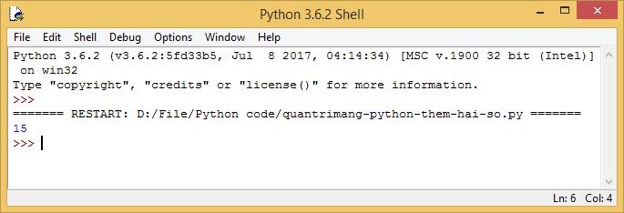 Kết quả chạy code Python thêm hai số