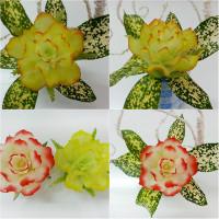 Trang trí mâm ngũ quả Trung thu bằng hoa hồng, hoa cúc, hoa súng làm từ đu đủ siêu đẹp