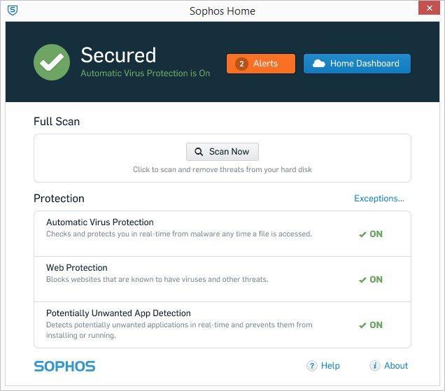 Giao diện phần mềm diệt virus Sophos Home