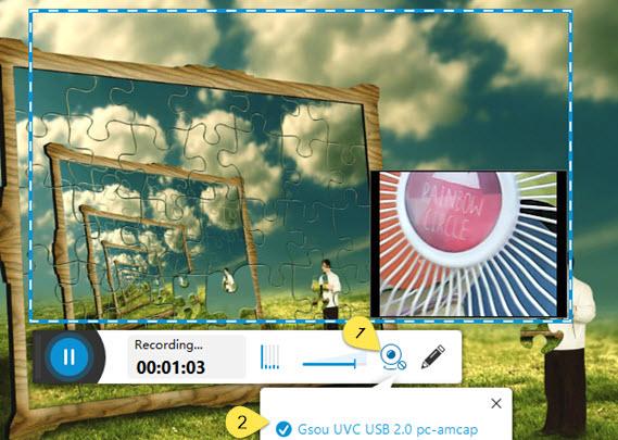 Chọn biểu tượng máy ảnh để ghi đồng thời webcam và màn hình
