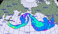 Độ rộng và đường đi của mây phóng xạ nếu Triều Tiên thử bom nhiệt hạch ở Thái Bình Dương