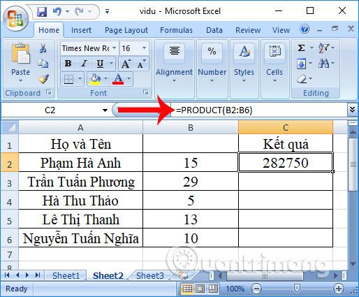 Cách dùng hàm nhân (hàm PRODUCT) trong Excel