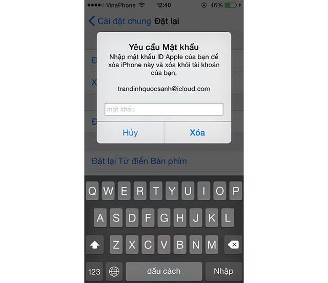 Nhập mật khẩu tài khoản Apple ID
