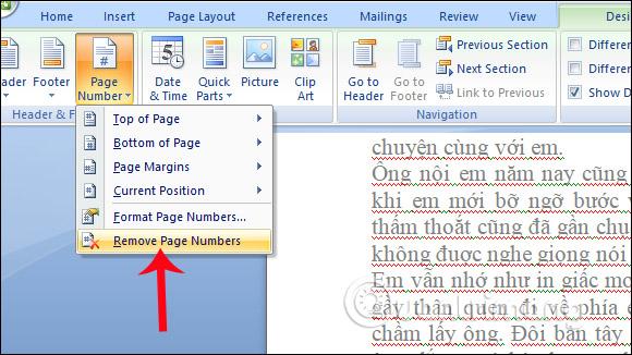Cách đánh số trang trong Word 2007