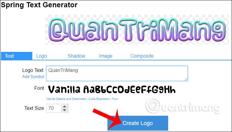 Tạo logo trên Cooltext