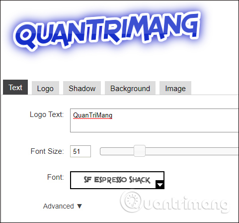 Tùy chỉnh nội dung chữ logo