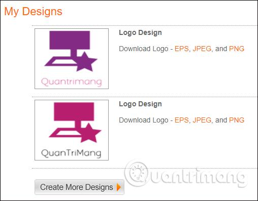 Chọn định dạng tải logo
