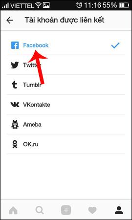 Dấu tích liên kết Instagram với Facebook