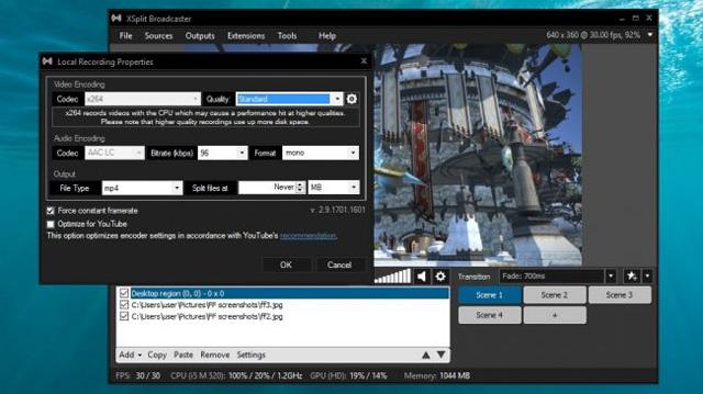Phần mềm Xsplit Broadcaster
