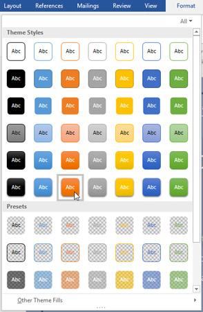 Nhấp chọn style bạn muốn áp dụng choText Box