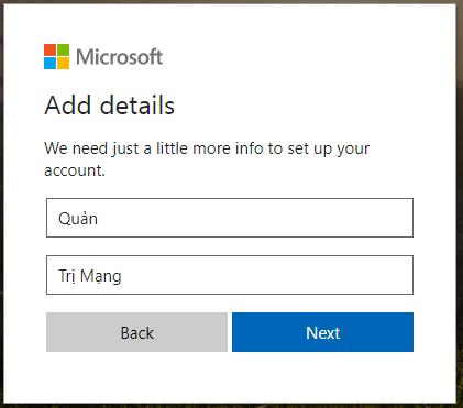 Khai báo thông tin tài khoản Microsoft