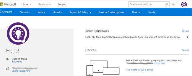 Giao diện tài khoản Microsoft