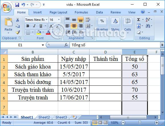 Chuyển vị trí cột Excel