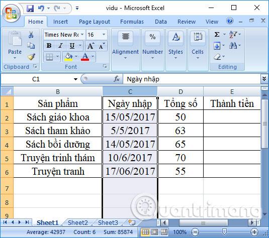 Đổi vị trí cột trong Excel