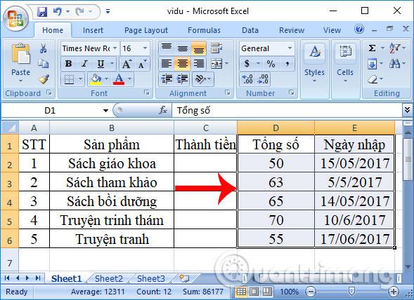Chuyển vị trí nhiều cột trong Excel