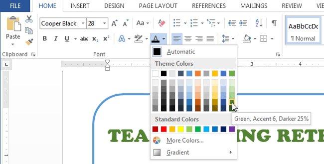 Menu Font Color