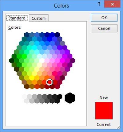 Chọn More Color nằm dưới menu để truy cập hộp thoại Colors