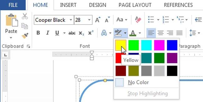 Click chọn mũi tên thả xuống Text Highlight Color và một menu Highlight Color