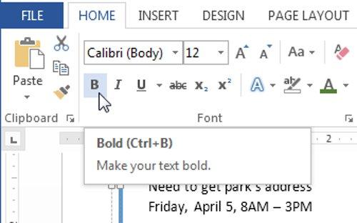 Click chọn lệnh Bold (B), Italic (I) hoặc Underline (U) trong group Font
