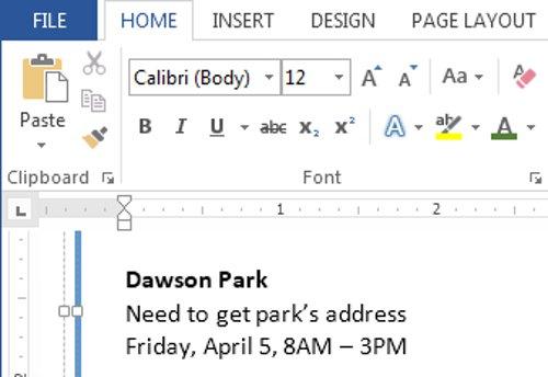 Văn bản mà bạn chọn trong tài liệu sẽ thay đổi.