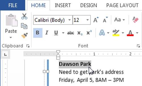 Lựa chọn văn bản mà bạn muốn chỉnh sửa.