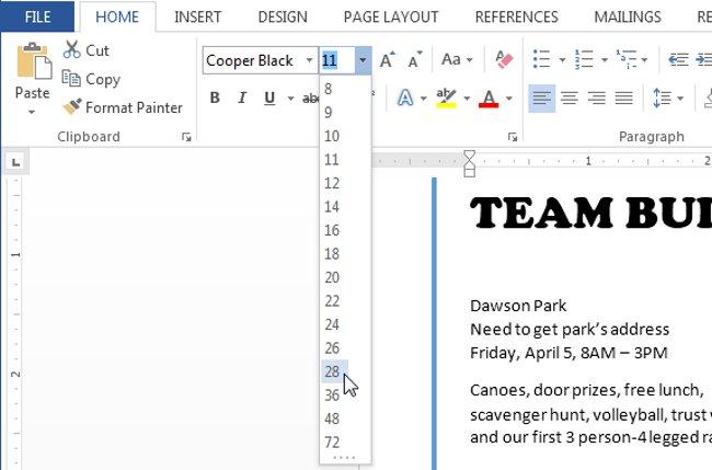 Chọn một kích thước font chữ từ menu.