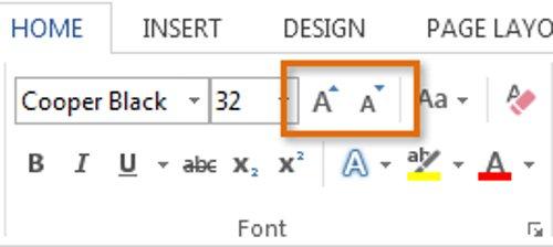 Sử dụng lệnh Grow Font và Shrink Fontđể thay đổi kích thước font chữ