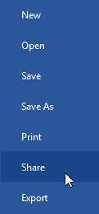 Click chọn tab File để truy cập Backstage view, sau đó click chọn Share.