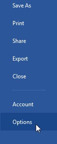 Click chọn Options.
