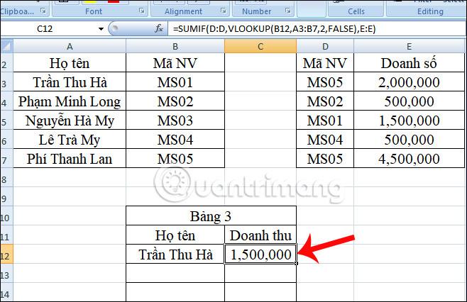 Cách kết hợp hàm Sumif và hàm Vlookup trên Excel