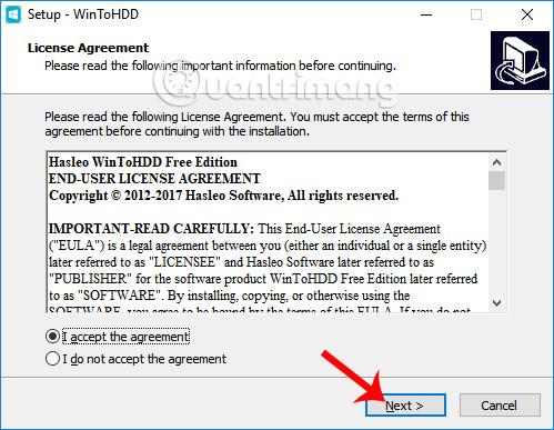 Đồng ý điều khoản cài đặt WinToHDD