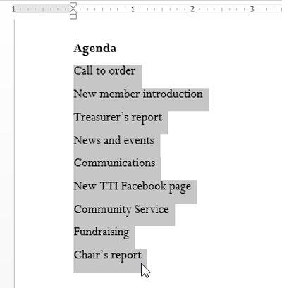 Bôi đen văn bản bạn muốn định dạng như một danh sách.