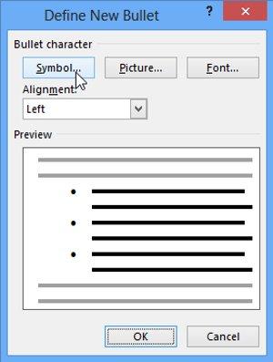 Cửa sổ Define New Bullet sẽ xuất hiện. Nhấp vào nút Symbol.