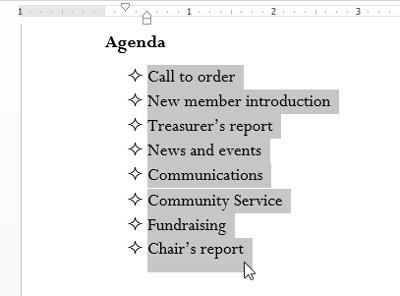 Chọn một danh sách hiện có mà bạn muốn định dạng.