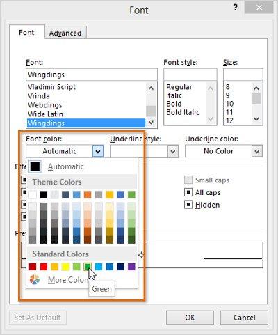Chọn màu mong muốn và nhấp vào OK.